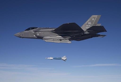 F-35A Lightning II of the 34th FS drops GBU-12 in February 2016